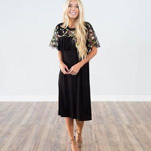 Shop Stevie Albani Lace Detail Midi Dress in Black